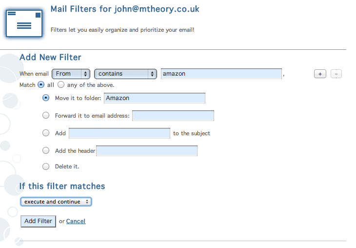 Email filter options