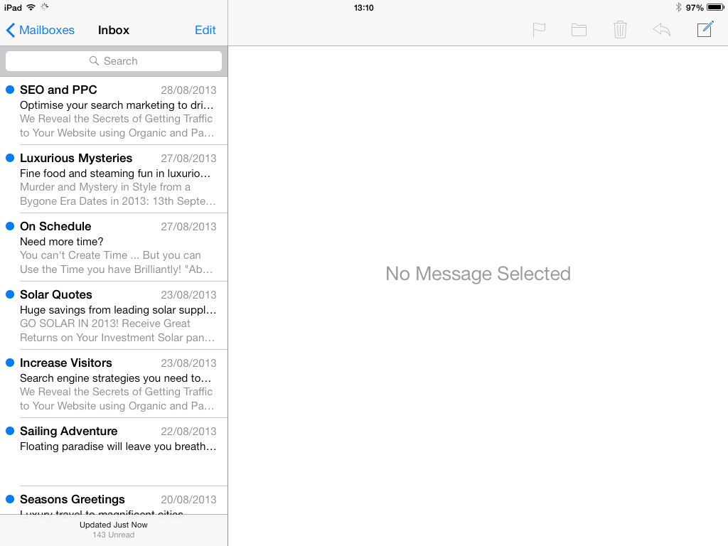 how to search on ipad email