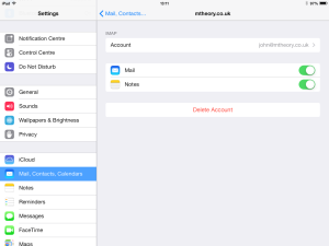 iOS settings mail