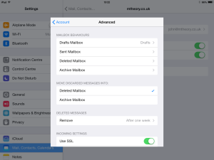 iOS Mailbox behaviours configured