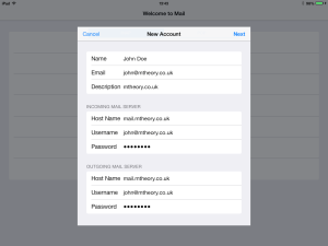iOS 7 Mail account settings complete